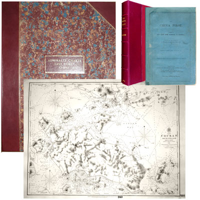 The China Pilot. Part 1. East Coast from Hong Kong to Shanghai, Chiefly from the Surveys of Captain Collinson, R.N., C.B. edited by Robert Loney - together with - Large Folio atlas containing 25 large double-page Admiralty Charts